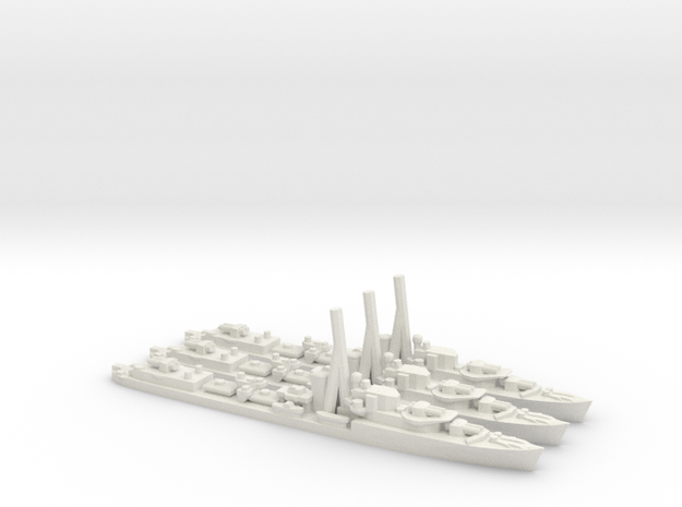 British J/K/N-Class Destroyer in White Natural Versatile Plastic: 1:1800
