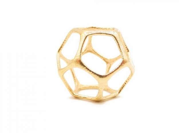 Dodecahedron Pendant - Yin - Platonic Solids in Natural Brass