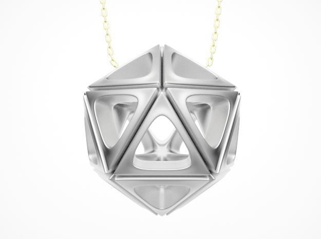Icosahedron Pendant Type A in White Natural Versatile Plastic: Small