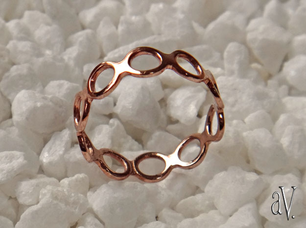 Round Bee Single Ring in 14k Rose Gold Plated Brass: 6 / 51.5