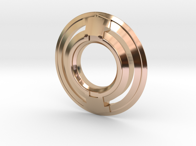 Tron inspired disc pendant - with holes in 14k Rose Gold Plated Brass