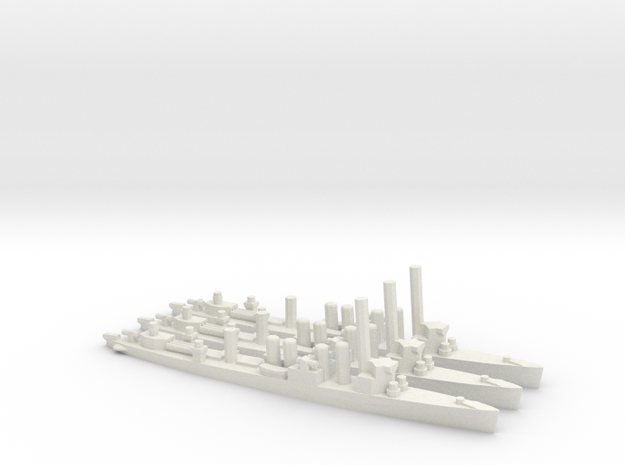 British Town-Class Destroyer (v2) (x3) in White Natural Versatile Plastic
