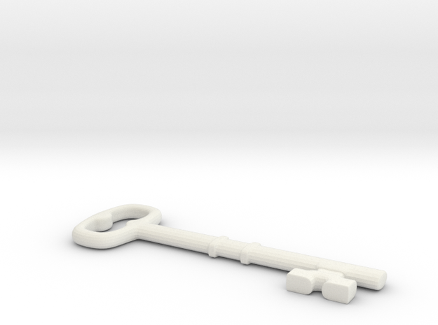 Old Key in White Natural Versatile Plastic