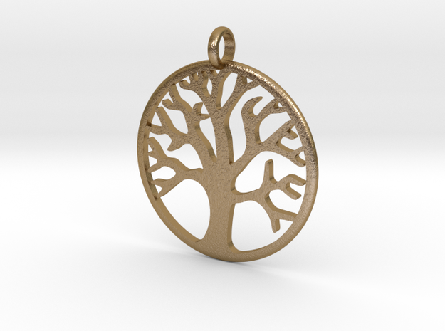 Tree Medallion in Polished Gold Steel