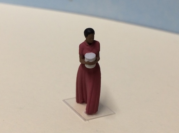 African American Female Walking Long Dress w/Pot in Smoothest Fine Detail Plastic: 1:64 - S