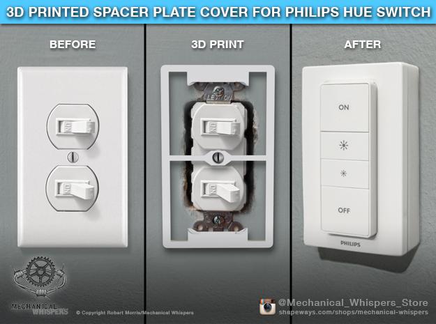 Philips Hue Dimmer Duplex Plate (Horiz US Toggle) in White Natural Versatile Plastic