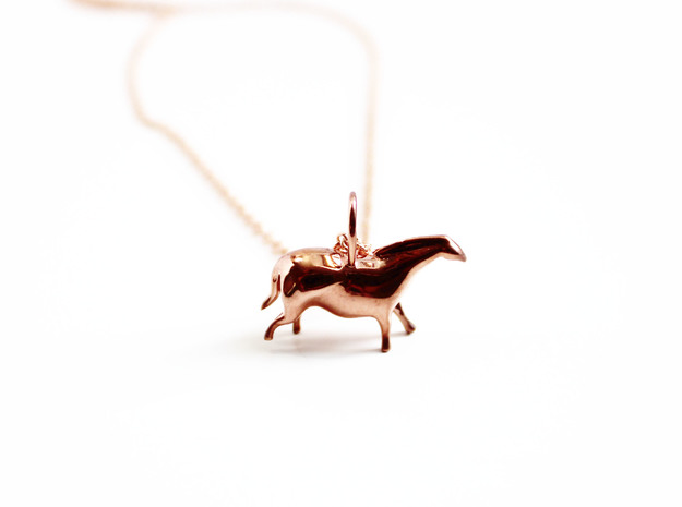 Paleolithic Horse Pendant - Archaeology Jewelry in 14k Rose Gold Plated Brass