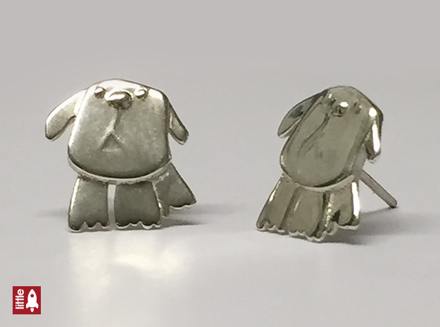 Doggy Ear Studs in Polished Silver