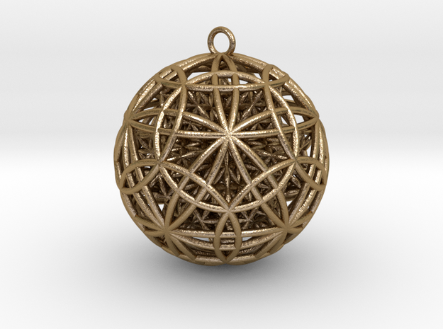 IcosaDodecasphere w/ FOL Stel. Icosahedron Pendant in Polished Gold Steel