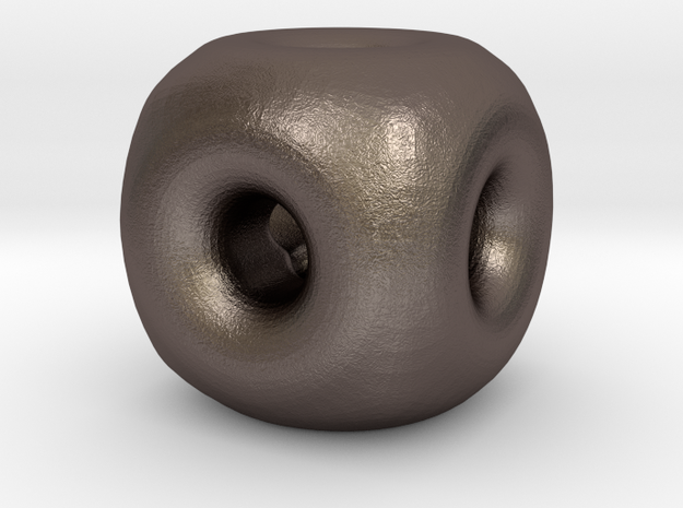 edgeless cube 14mm  in Polished Bronzed-Silver Steel
