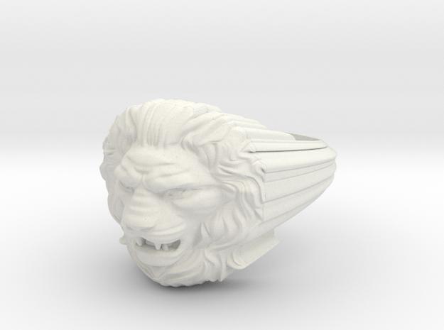 Lion ring # 2 in White Natural Versatile Plastic