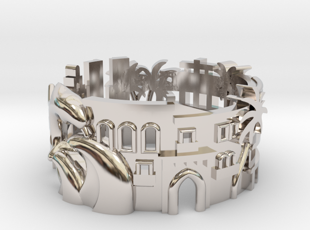 Miami Cityscape Ring in Platinum: 7 / 54