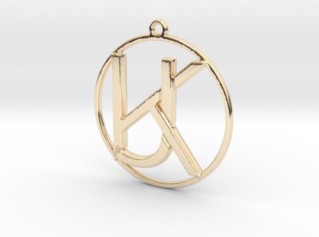 K&J Monogram Pendant in 14k Gold Plated Brass