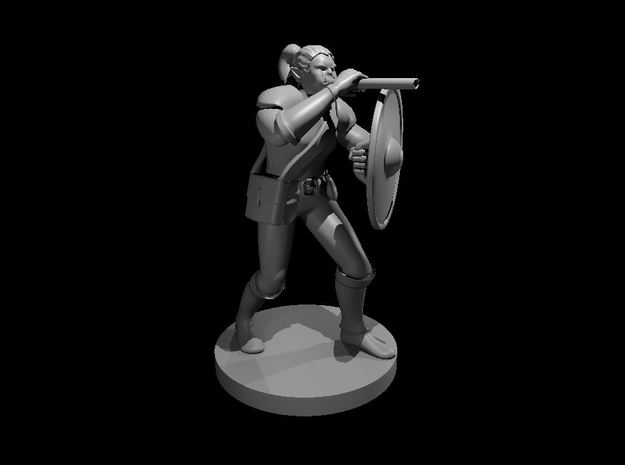 Half Orc Female Bard with War Gong and Blowgun in Smooth Fine Detail Plastic