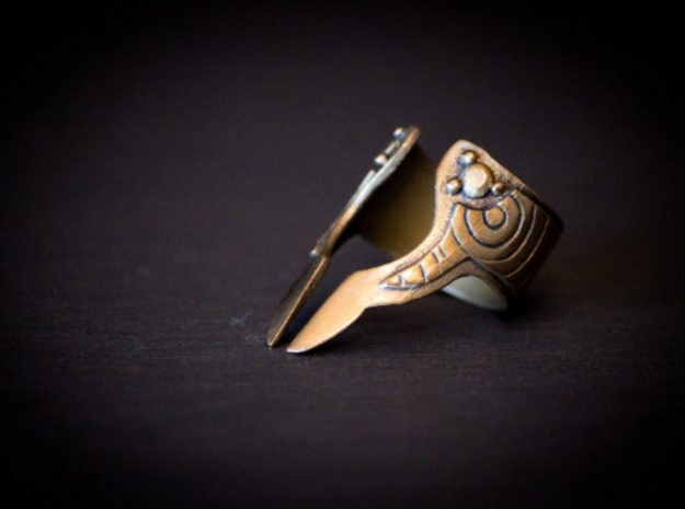 Valkyrie Armor Ring Size 6.5 in Polished Bronze Steel