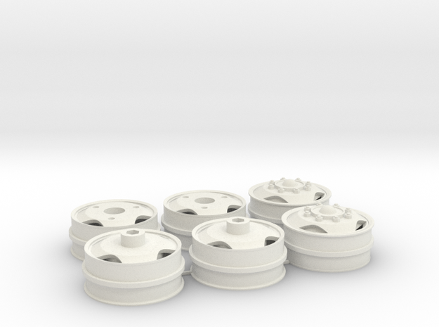 Wheel rims 40x16mm with triangle holes in White Natural Versatile Plastic