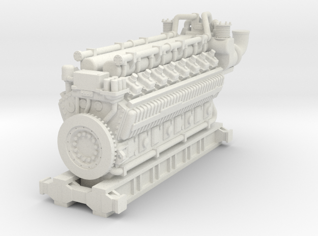 5000HP 16 Cyl Industrial Natural Gas Engine Model in White Natural Versatile Plastic: 1:160 - N