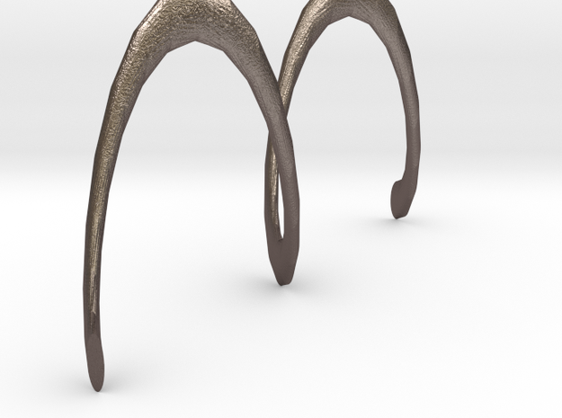 Spiral Earring in Polished Bronzed Silver Steel
