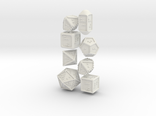 Braille Polyhedral Gaming Dice Set (8 Dice) in White Natural Versatile Plastic