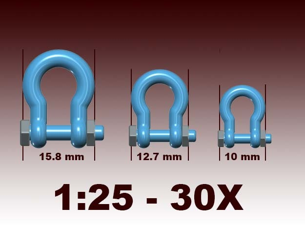 Bolt shackles - 1:25 - 30X in White Natural Versatile Plastic