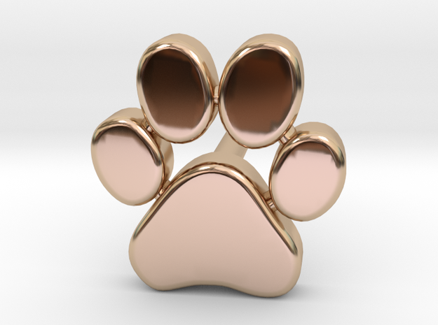 Paw Print Earring in 14k Rose Gold