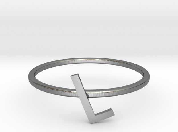 Letter L Ring in Polished Silver: 7 / 54