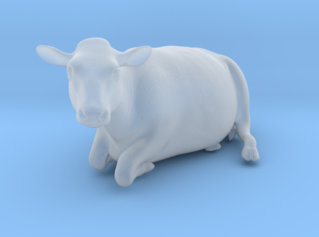 1/64 Dairy Cow Laying Down Looking Left in Smooth Fine Detail Plastic