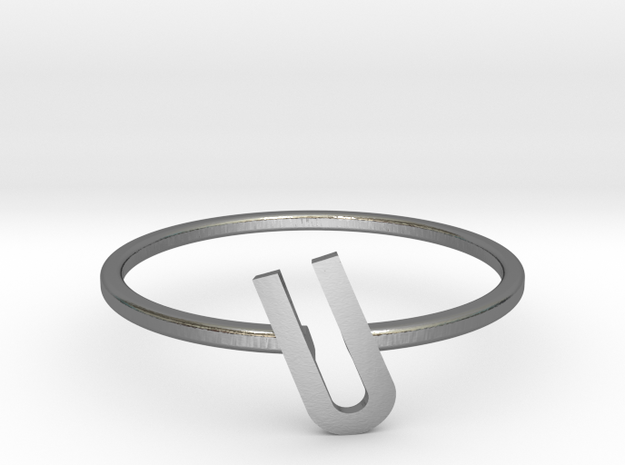 Letter U Ring in Polished Silver: 7 / 54