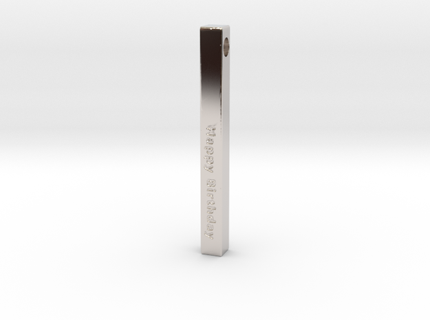 Happy Birthday Vertical Bar Pendant in Rhodium Plated Brass