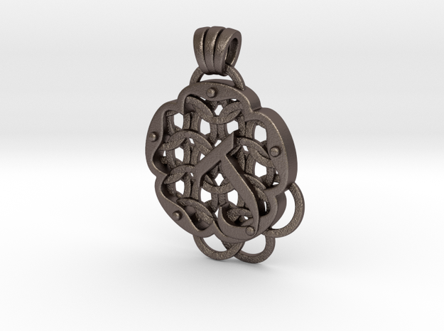 Chain Mail Pendant J in Polished Bronzed-Silver Steel
