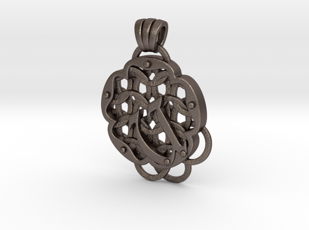 Chain Mail Pendant U in Polished Bronzed-Silver Steel