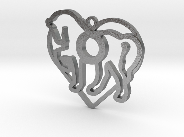 horse & heart intertwined in Natural Silver