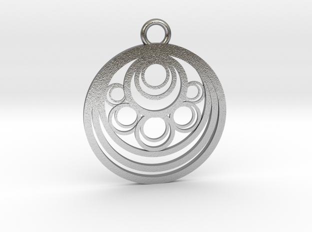 Geometrical pendant no.10 metal in Natural Silver: Medium