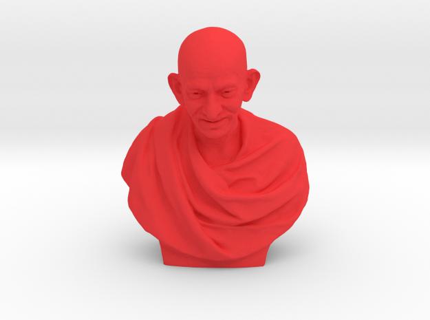 Gandhi bust in Red Processed Versatile Plastic: Medium