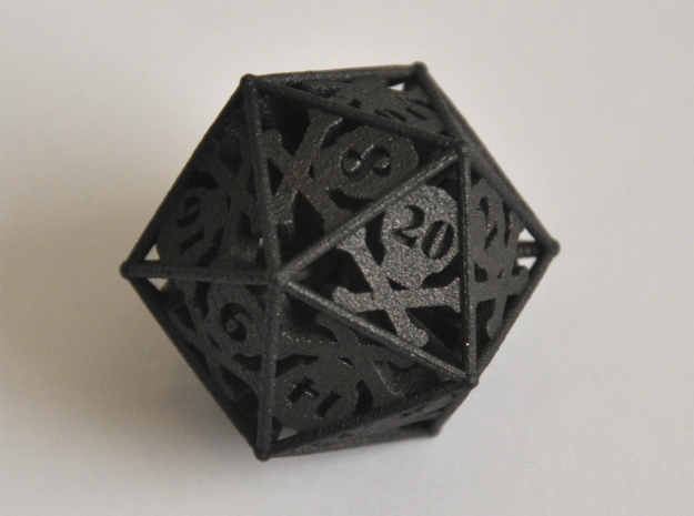 D20 Balanced - Skull and Bones in Matte Black Steel