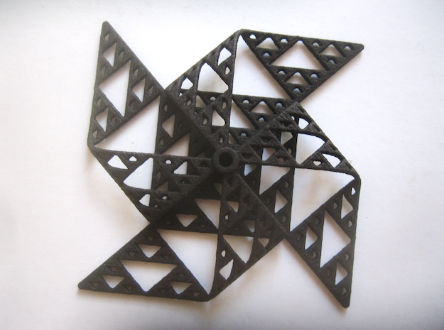 Sierpinski triangle windmill in Black Natural Versatile Plastic