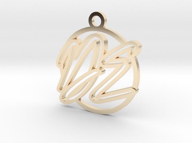 D&E contour script in 14k Gold Plated Brass
