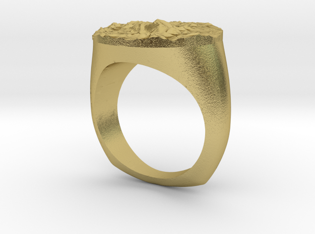SIZE 7 MT EVEREST TOPOGRAPHICAL RING in Natural Brass