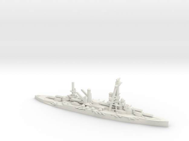 French Bretagne-Class Battleship in White Natural Versatile Plastic