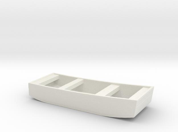 1/96 Scale 10 ft Punt General Purpose Work Boat US in White Natural Versatile Plastic