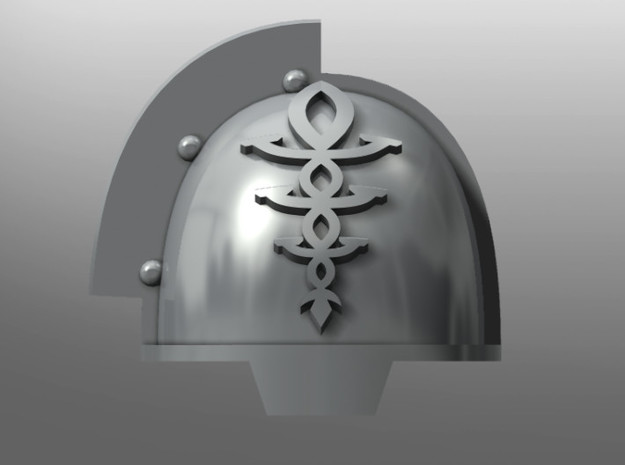 Grievous ptrn Shoulder Pads: Eldritch Guardians in Smooth Fine Detail Plastic: Small
