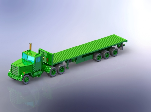 M915 Tractor w. M872 Flatbed-Trailer 1/160 in Smooth Fine Detail Plastic