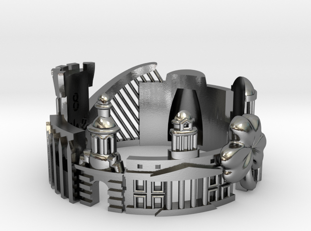 Dublin Cityscape Ring in Polished Silver: 8 / 56.75