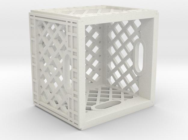 1:12 Scale Milk Crate in White Natural Versatile Plastic: 1:12
