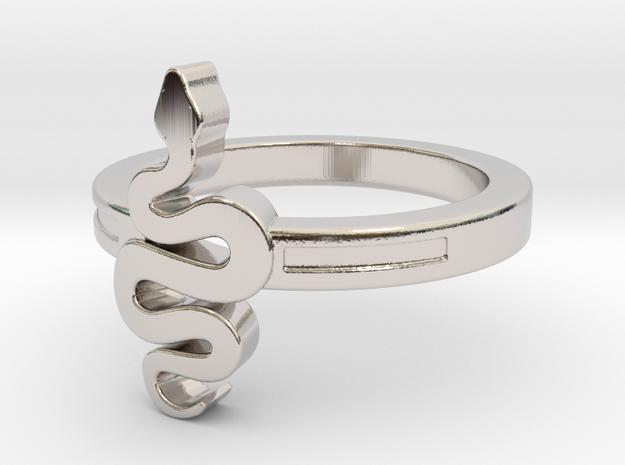 KTFRD06 Filigree Snake Geometric Ring design 3D in Rhodium Plated Brass