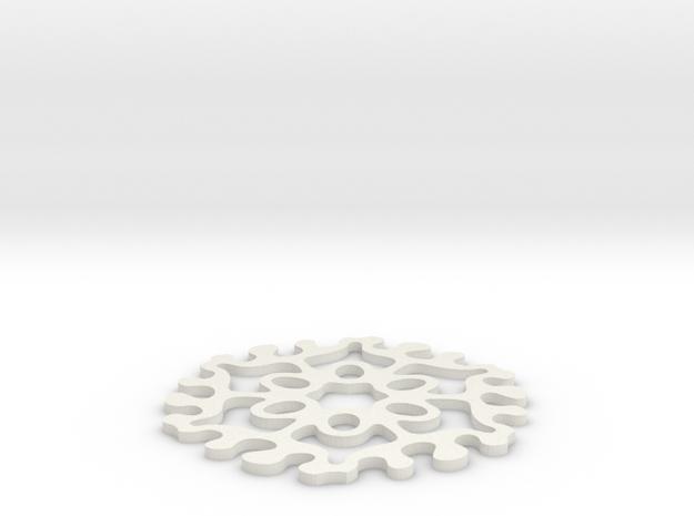 Drink Coaster - Jigsaw-Interlocking- Ovals Pattern in White Natural Versatile Plastic