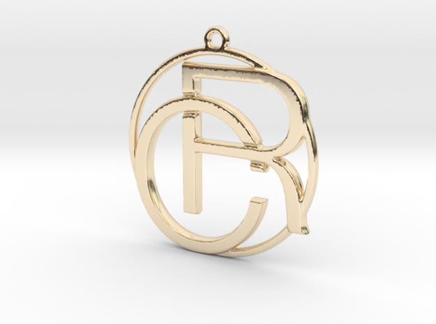C&R Monogram Pendant in 14k Gold Plated Brass