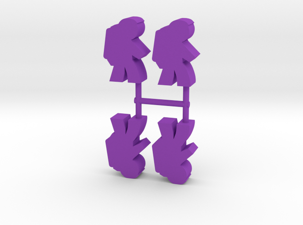 Astronaut Meeple v3, side, 4-set in Purple Processed Versatile Plastic