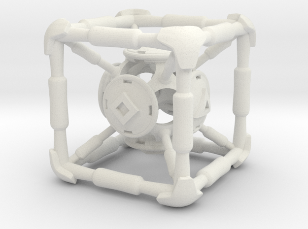 D6 Polywell Hypercube in White Natural Versatile Plastic