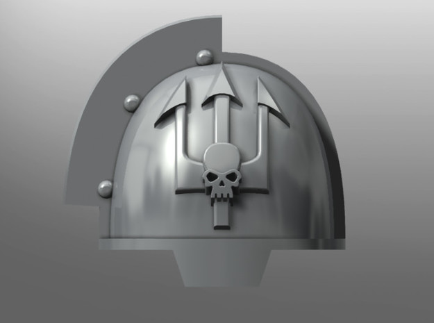 Grievous ptrn Shoulder Pads: Emperor's Tridents in Smooth Fine Detail Plastic: Small
